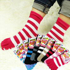 6 Pairs Womens Girls Cotton Striped Five Fingers Toe Ankle Socks Mixed Colors UK