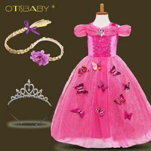 Rapunzel Princess Dress For Girls Birthday Party Cinderella Dress With Butterfly