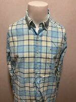Southern Tide L/S Teal Plaid Checkered Mens Classic Fit Mens Button Down Shirt L