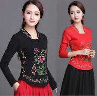 Women Chinese Style Cotton Embroidery Long Sleeve Top T-shirt Soft Blouse M-5XL