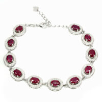 Oval Red Ruby 6x4mm Cz 14k White Gold Plate 925 Sterling Silver Bracelet 9inches