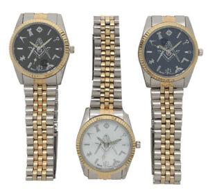 New Masonic Freemason Square And Compass Quartz Two Tone Metal Band Wrist Watch