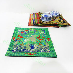 """1/2/4/6PCS Chinese Lucky Red-crowned Crane Embroidery square 25cm(10"""")Placemats"""