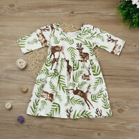 Toddler Kids Baby Girl Party Dress Floral Deer Princess Pageant Casual Dresses