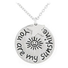 Silver Medallion Charm Necklace D33 You Are My Sunshine Star