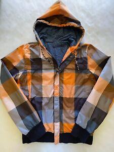 Modern Amusement Men's Check Lined Long Sleeve Hooded Spray Jacket Anorak - M