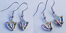 Zauberhafte Tulpen Mix Feueropal Ohrhänger 925er Silber rhodiniert 31,5 mm