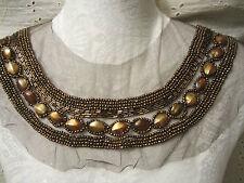 "12"" Copper Beading & Iridescent Stones Neckline Applique *Very Nice*"