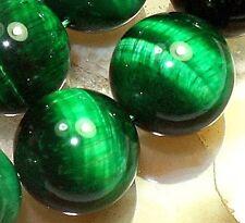 14mm Green  Tigereye Round Beads 14pcs