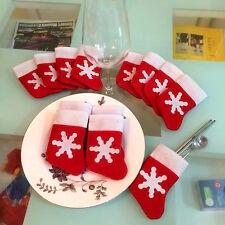 12Pcs Xmas Christmas Tableware Silverware Holder Socks Cutlery pouch Table Decor