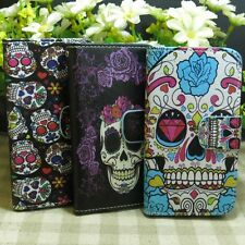 1x Cool Skull Wallet Pouch Holder Magnetic Flip case cover for Samsung Galaxy
