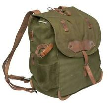 Romanian Army vintage O.D. canvas & leather rucksack in v. g. cond., free ship