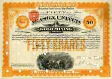 1895 Alaska United Gold Mining Stock Certificate