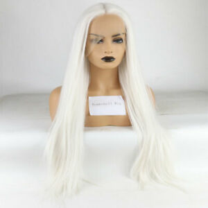 24inch Synthetic hair Lace front wigs Snow white Long Straight Handtied