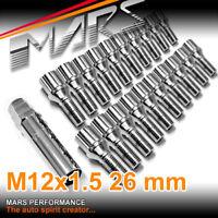 20x Chrome Mars Performance wheels M12 x 1.5 26mm ultra slim 7 spline Lock Bolts