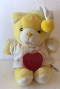 Vintage 1986 Chosun Heart To Heart Yellow Teddy Bear Pajamas Beating Heart Works
