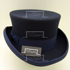 CLASSIC Wool Felt Men Top Hat Gentlemen Topper Tuxedo Short NEW | 57cm | Navy