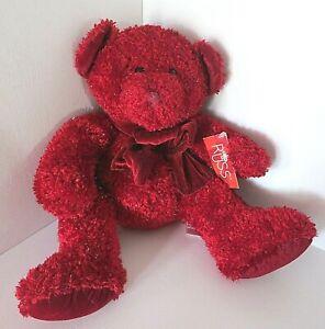 "Russ Berrie Teddy Bear Rosetta Red Sparkly Bow Tie Plush Toy #4917 Medium 14"""