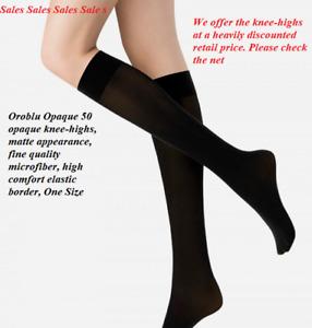 4 Pack Orolbu Opaque 50 denier knee-highs, precious micro fiber, comfort border