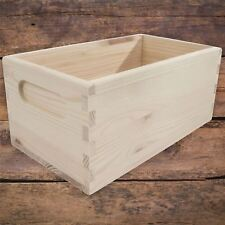 XSmall Unpainted Pine Wooden Storage Box With Handles Open Top Non-Lidded DIY