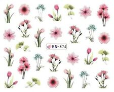 Nail Art Decals Transfers Stickers Pink Flowers (BN874)