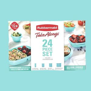 Rubbermaid TakeAlongs Meal Prep 24- Piece Food Storage Containers, Teal Food