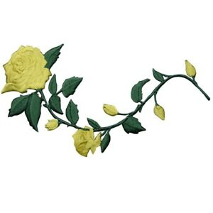 """Yellow Rose Applique Patch - Long Stem, Flower Badge 5.5"""" (Iron on)"""