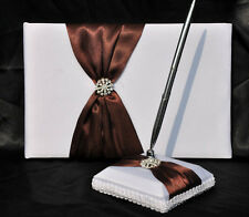 White Wedding Guest Register Book Pen Set Cocolate Brown Ribbon & Diamante Ring