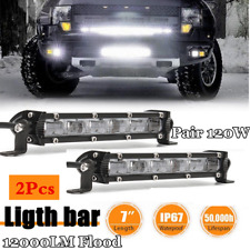 1 Pair 7'' 120W 12*CREE LED Car Work Light Bar 6D Flood Beam Driving Lamps 6000K