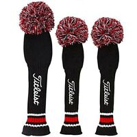 New TITLEIST Knitted Head Cover 3 Set Black x Red (AJHC3Dx1+AJHC3Fx2) From Japan