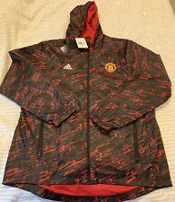 Manchester United FC Adidas Jacket Windbreaker Black Red M Medium New NWT