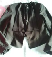 PORTMANS ELEGANT BLACK CROPPED BLAZER CLIPS UP IN FRONT SIZE 12. LIKE NEW.