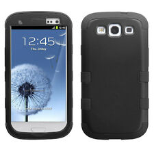 For Samsung Galaxy S III 3 Rubber IMPACT TUFF HYBRID Case Phone Cover