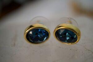 SWAROVSKI S.A.L.Vintage Stud Pierced Earrings Sapphire Blue Crystal Gold Tone