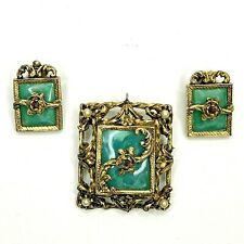Vtg Pendant Brooch and Matching Clip On Earrings Gold Tone With Turquoise Style