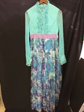 Vtg 60s Ruffle Front Floral Puff Sleeve Go-Go PantsuiT Jumpsuit Psychedelic Mod