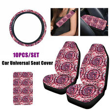 10X Car Seat Cover Steering Wheel Cover W/Seat Belt Armrest Pad Polyester Fabric