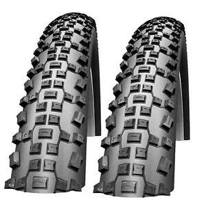 Mountain Bike Tyres 26 x 2.1 Schwalbe Rapid Rob MTB Bicycle Tires Pair