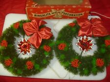 2 Vintage Ringalite Wreath Door Wal 00006000 l Lighted Christmas Plastic with Reflectors