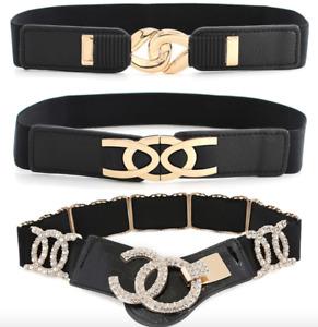 Women Ladies Elastic Stretchy Waist Belt Strap
