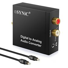 ESYNIC DAC Digital to Analog Audio Converter Optical Coax to Analog RCA Audio...