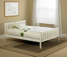 White Shaker Wooden Wood Bed Frame Bedstead - Double 4ft6