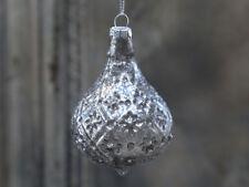 Chic Antique Weihnachtskugel Tropfen Glimmer silber Weihnachten vintage shabby