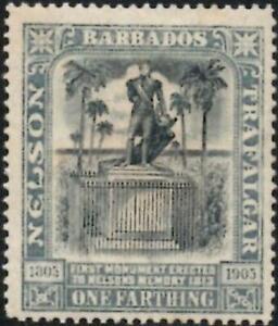 Barbados 1906 EDVII  1/4d Black & Grey  Nelson Centenary  SG.145 Mint (Hinged)