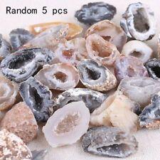 5Pcs Geodes Oco Agate Natural Crystals Druzy Halves Quartz Specimens Home Decor