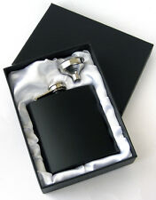 6oz STAINLESS STEEL HIP FLASK + FUNNEL (MATTE BLACK) *** Brand New ***
