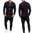 Homme survêtement pantalon jogging veste sport Fitness Gym Suit Ensemble Noir