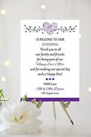 Wedding Welcome Thank you Message Sign Hearts Personalised ALL COLOURS A3 SIZE