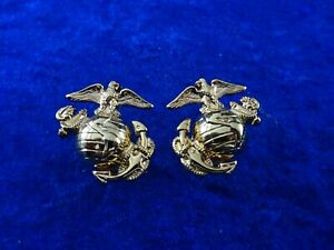 (A24-4) US Marine Corps Badge Kragenabzeichen gold original im Paar