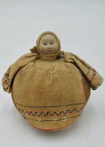 Antique Small Composition Head Russian Pincushion Doll